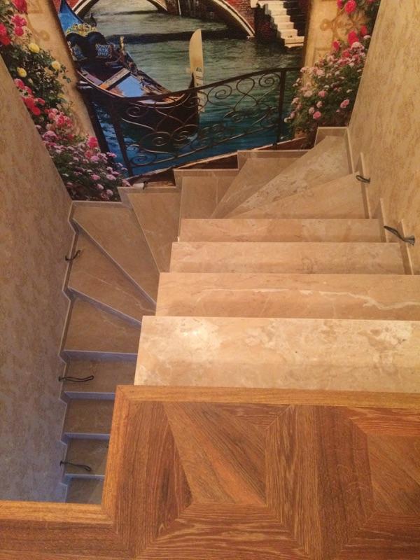ступени из керамогранита для лестниц: забежные ступени